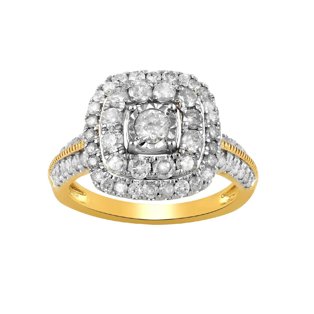 Brilliant Solitaire Halo Square Ring with 1.00ct of Diamonds in 9ct Yellow Gold