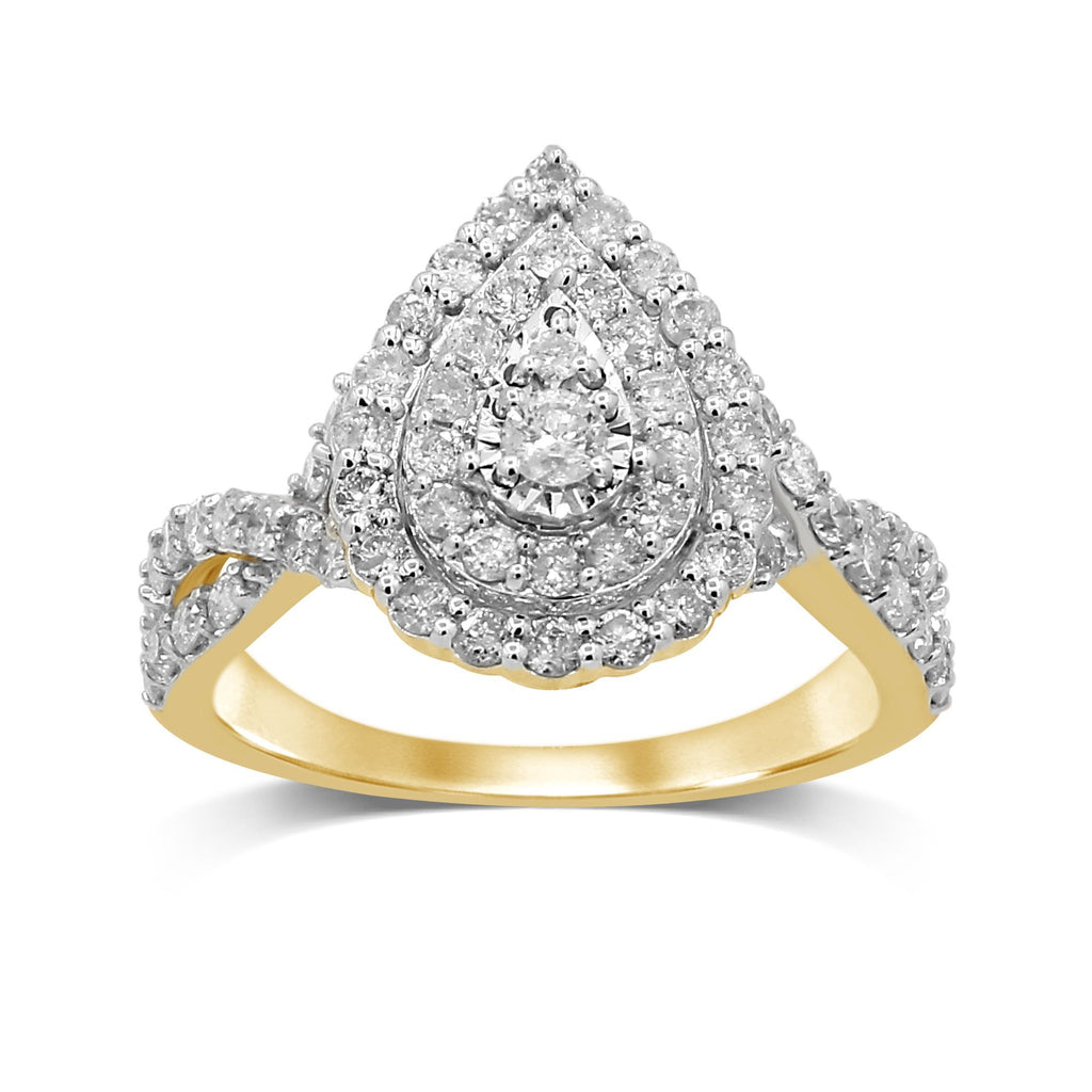 Double Halo Pear Ring with 1.00ct of Diamonds in 9ct Yellow Gold Rings Bevilles