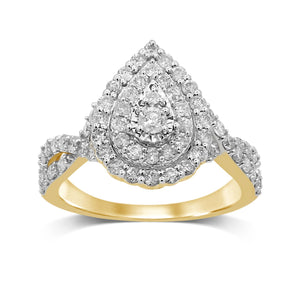 Double Halo Pear Ring with 1.00ct of Diamonds in 9ct Yellow Gold