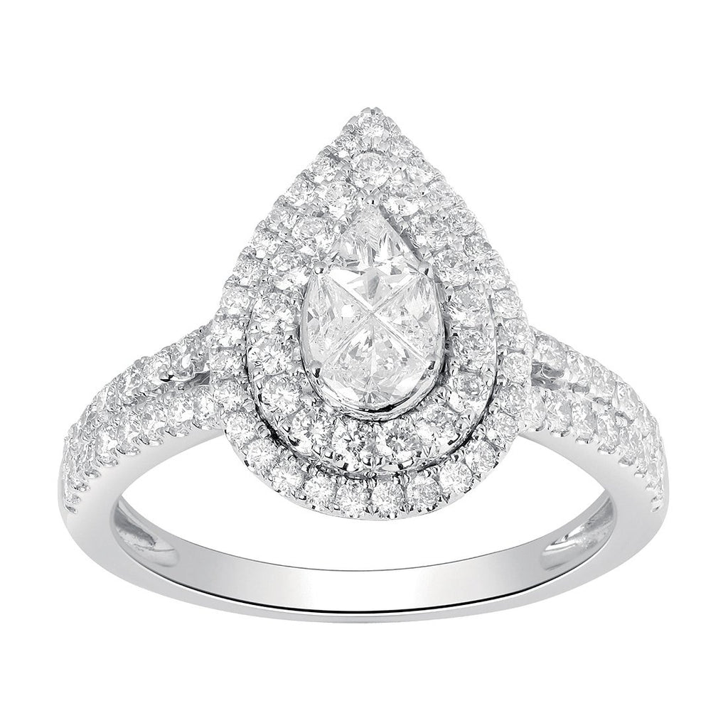 9ct White Gold 1.00ct of Diamonds Pear Halo Ring Rings Bevilles