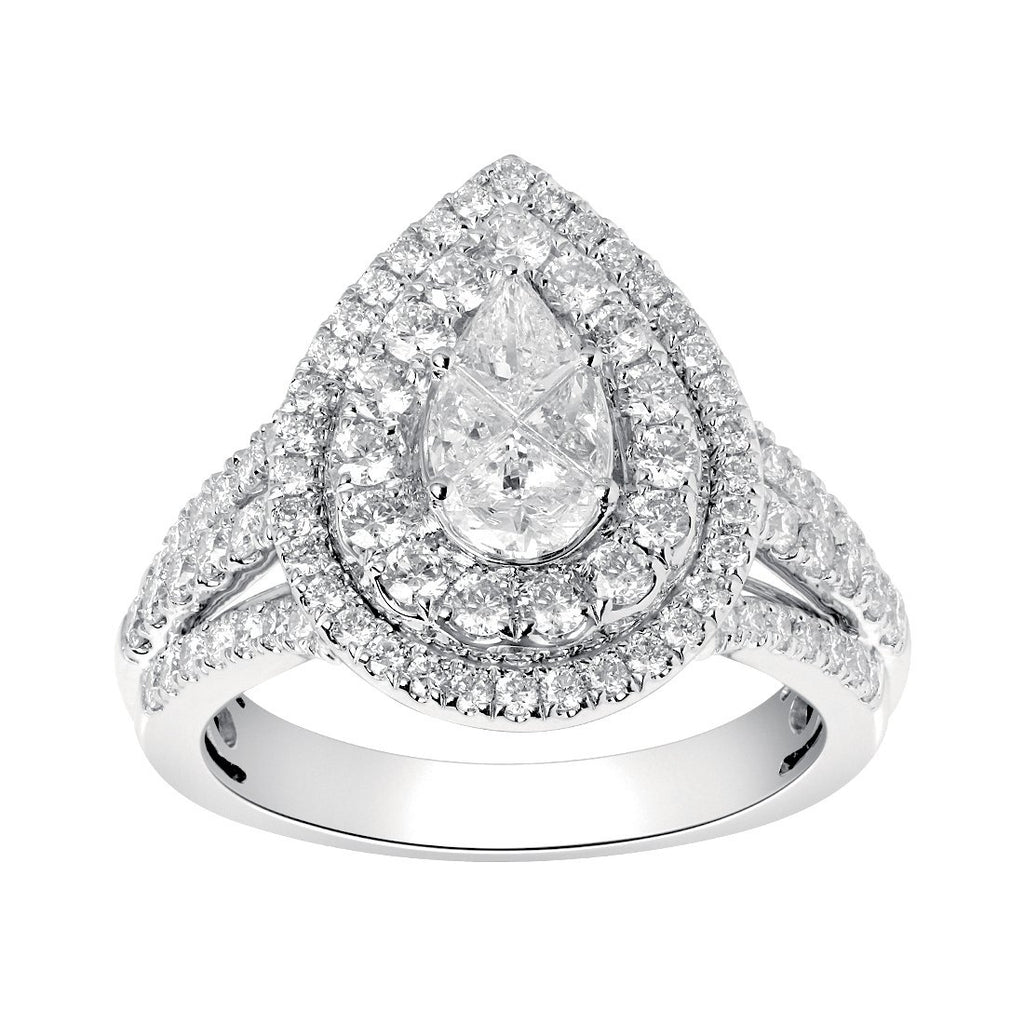 9ct White Gold 1.50ct Diamond Pear Shape Ring