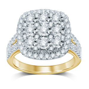 Halo Sqaure Look Ring with 1.25ct of Diamonds in 18ct Yellow Gold