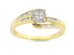 Invisible Princess Ring with 1/5ct of Diamonds in 9ct Yellow Gold