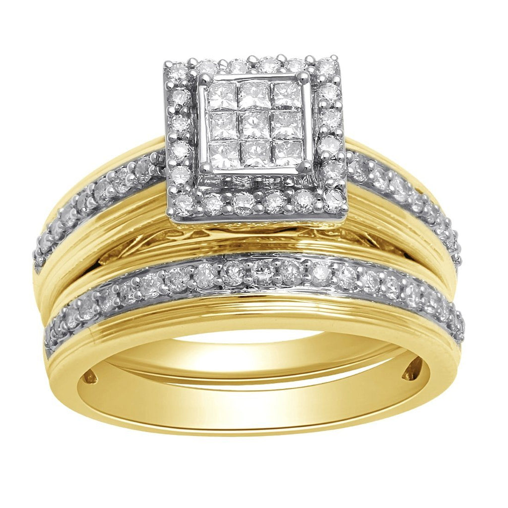 9ct Yellow Gold Invisible Princess Set Ring with 0.75ct of Diamonds