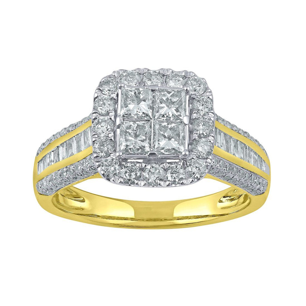 9ct Yellow Gold 1.5ct Diamonds Invisible Princess Ring