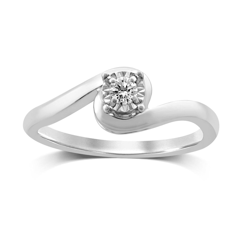 Diamond Solitaire Wrap Swirl Ring in 9ct White Gold Rings Bevilles