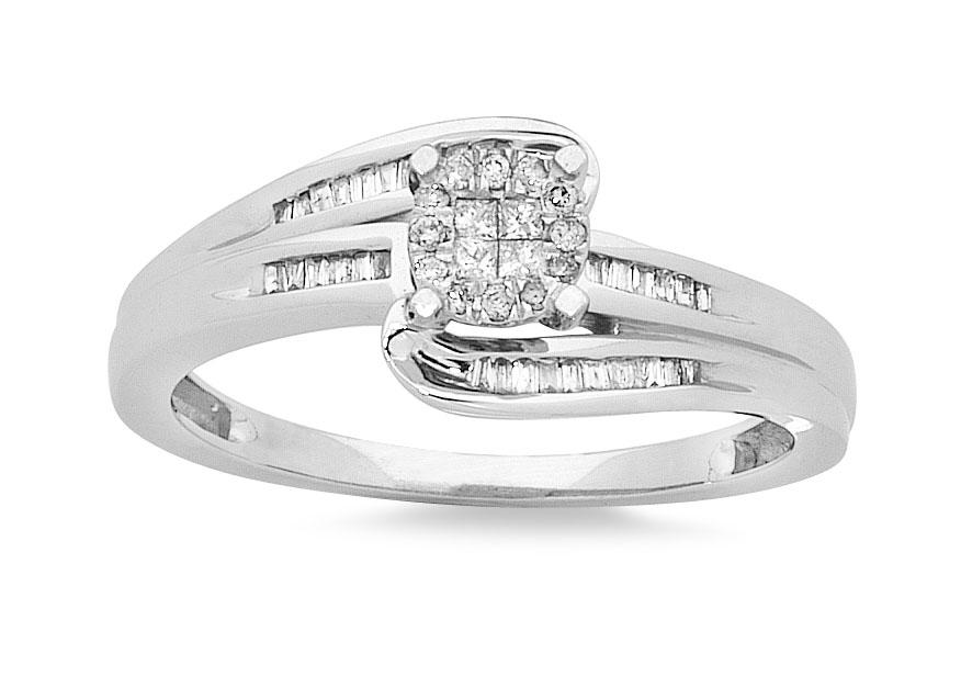 Invisible Princess Ring with 1/5ct of Diamonds in 9ct White Gold