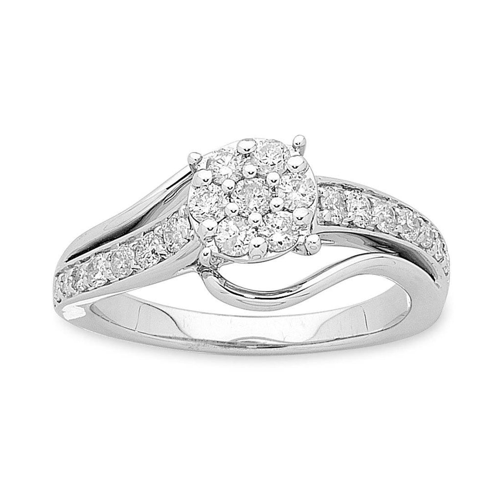9ct White Gold Diamond Ring 0.68ct