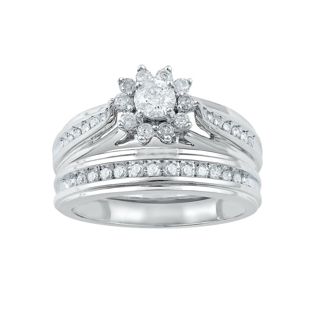 9ct White Gold 0.50ct Diamond Flower Ring
