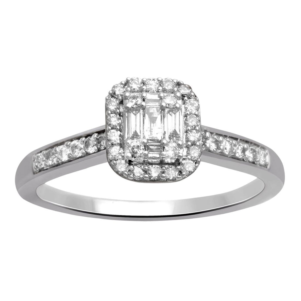 Brilliant Baguette Ring with 1/2ct of Diamonds in 9ct White Gold Rings Bevilles