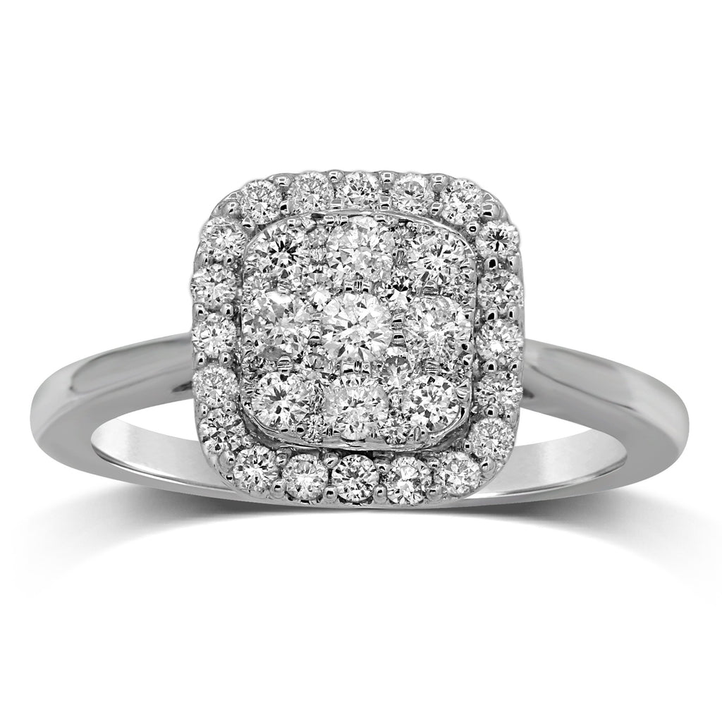 Brilliant Claw Square Shape Cluster Ring with 0.60ct of Diamonds in 9ct White Gold Rings Bevilles