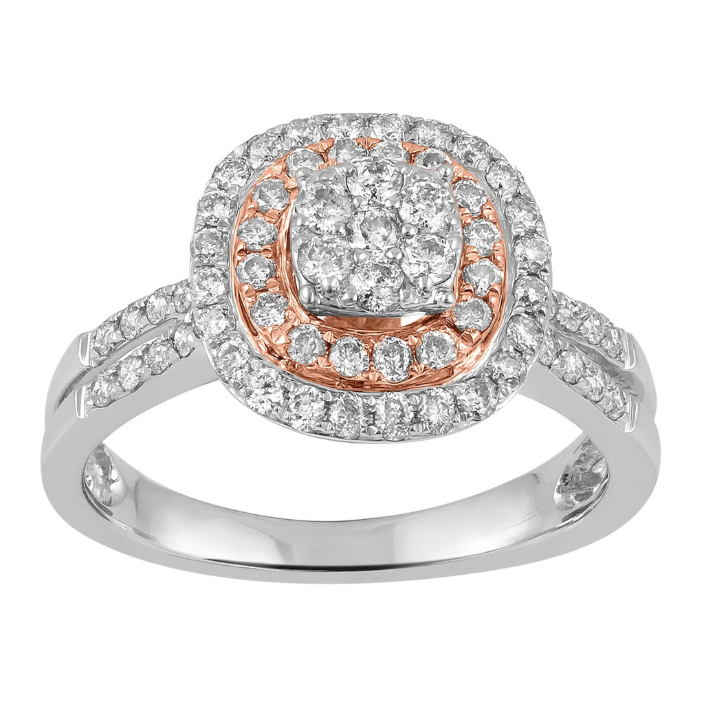 75pts of Diamonds 9ct White and Rose Gold Ring