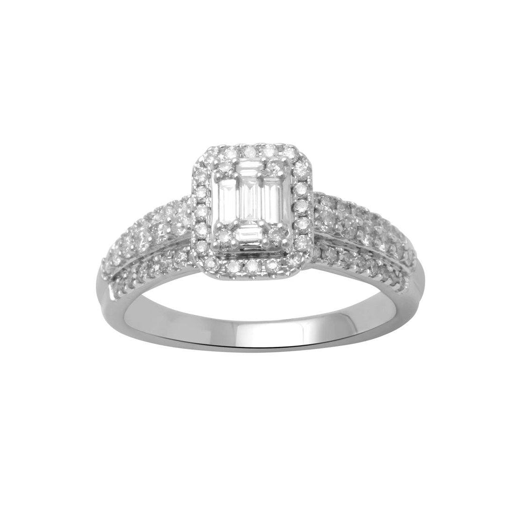 9ct White Gold 0.75ct Diamond Ring Rings Bevilles