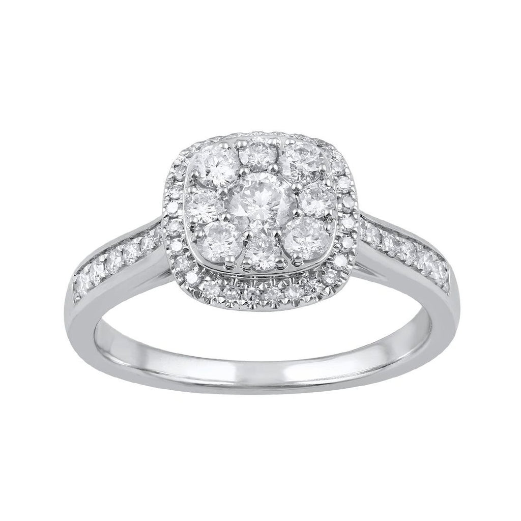 9ct White Gold Square Look Ring with 0.75ct of Diamonds Rings Bevilles
