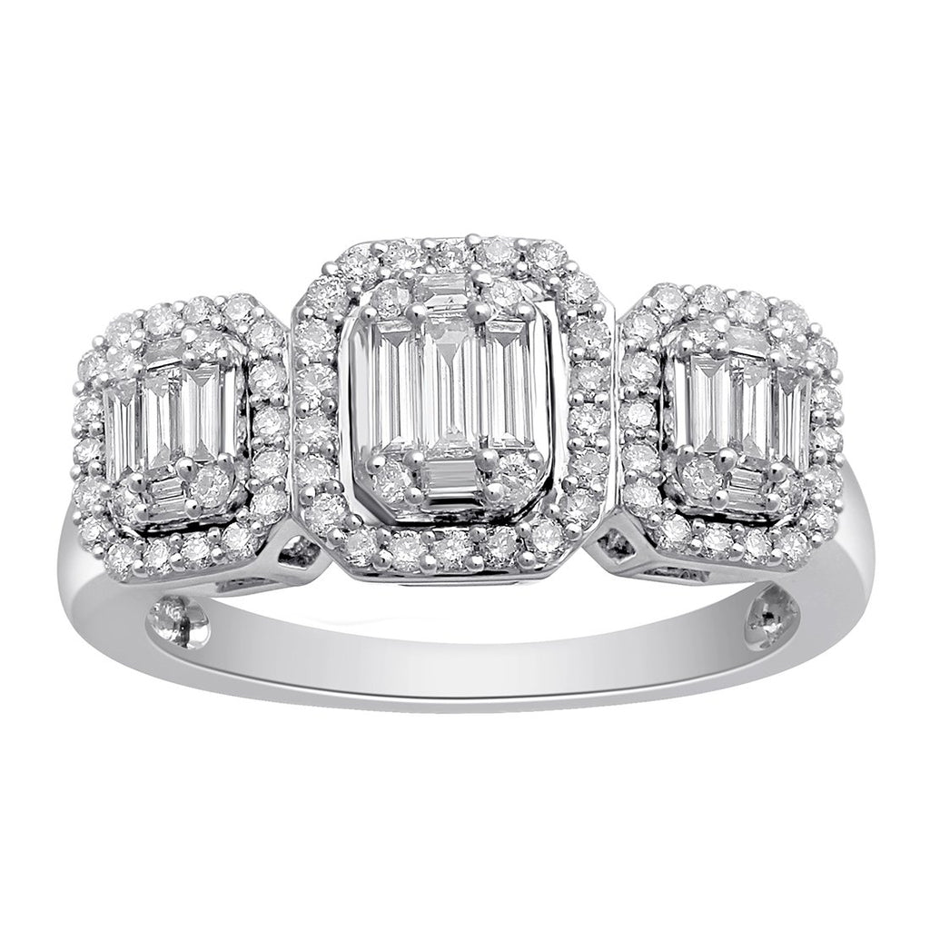 Baguette Ring with 0.80ct of Diamonds in 9ct White Gold Rings Bevilles