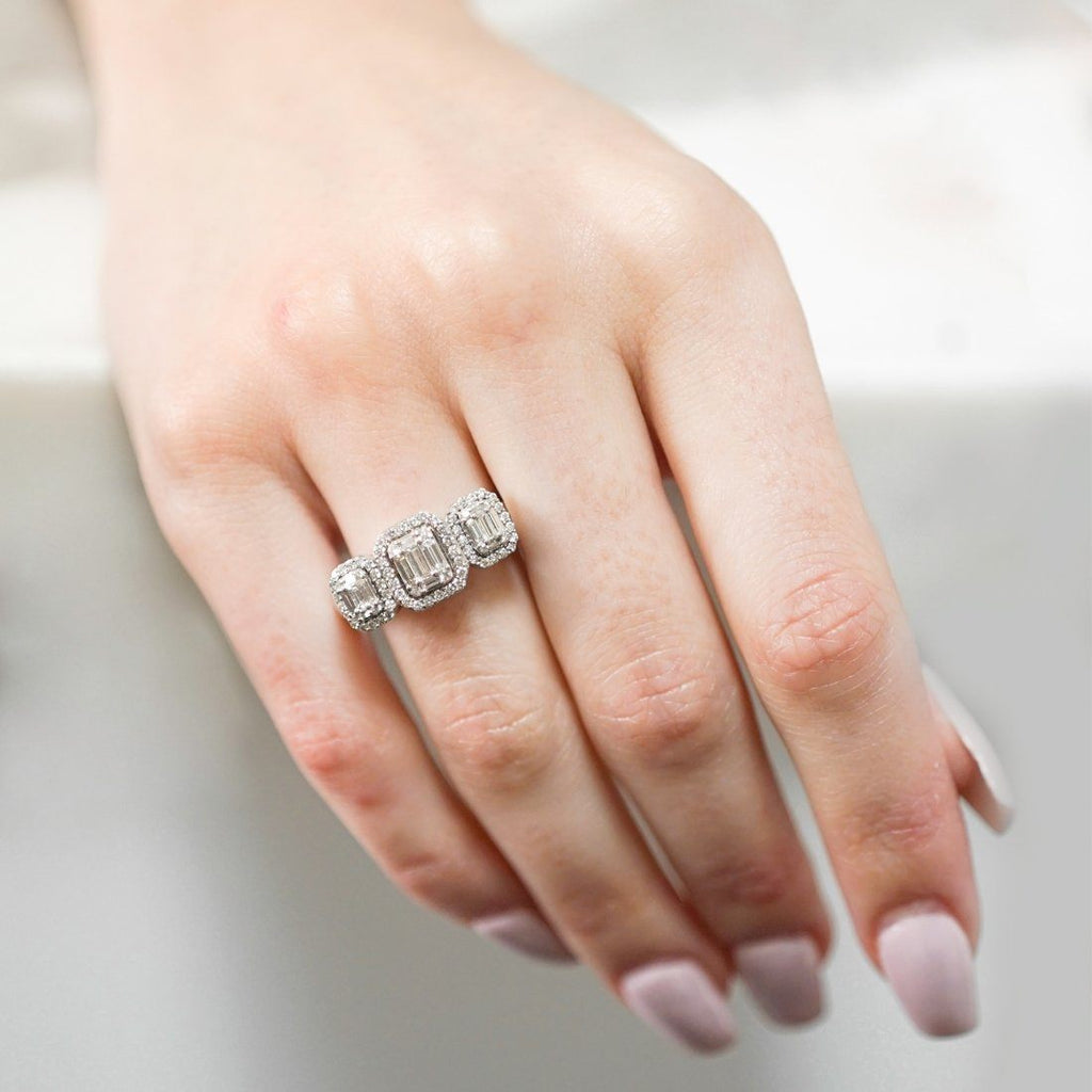 Baguette Ring with 0.80ct of Diamonds in 9ct White Gold