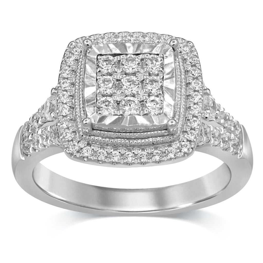 Brilliant Halo Ring with 3/4ct of Diamonds in 9ct White Gold Rings Bevilles