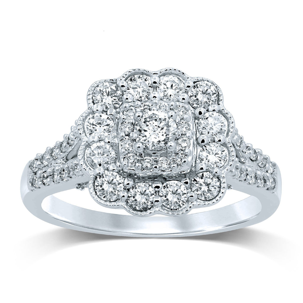 Halo Milgrain Ring with 1.00ct of Diamonds in 9ct White Gold Rings Bevilles