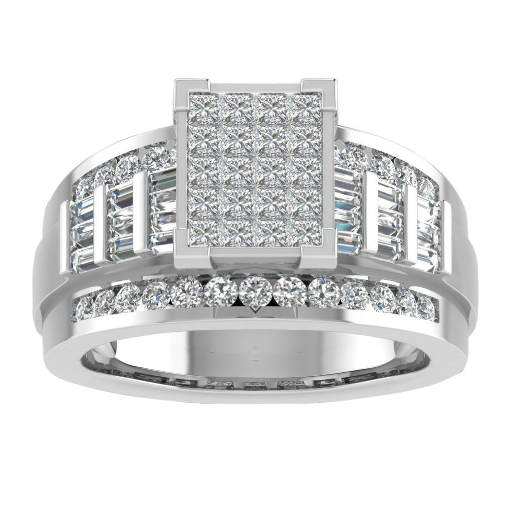 9ct White Gold Princess Invisible Ring with 1.50ct of Diamonds