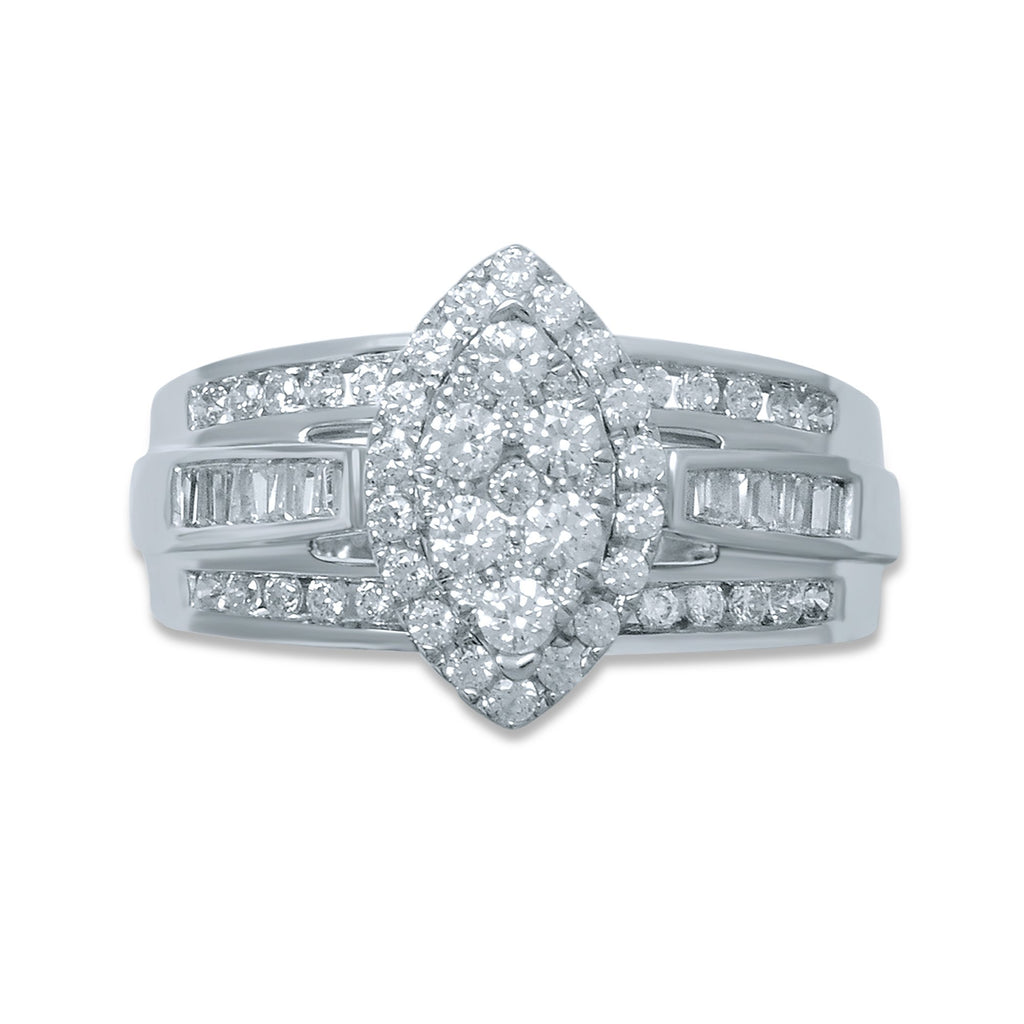 9ct White Gold Marquise Shape Ring with 1.00ct of Diamonds Rings Bevilles