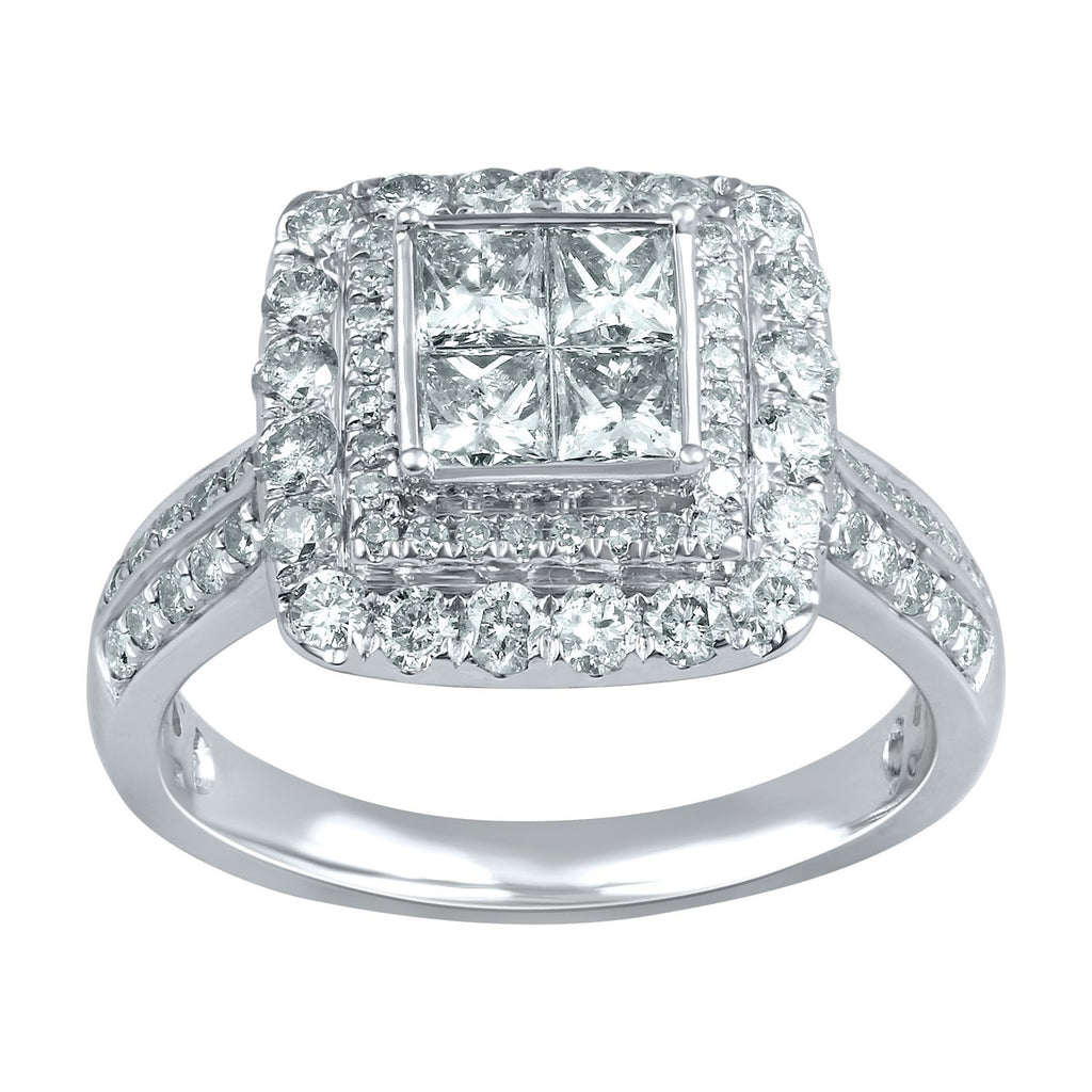 Double Halo Ring with 1.50ct of Diamonds in 9ct White Gold Rings Bevilles