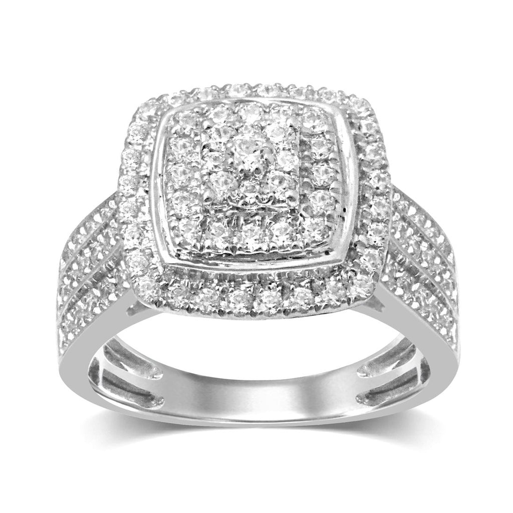 9ct White Gold 1.00ct Diamond Square Look Halo Ring Rings Bevilles