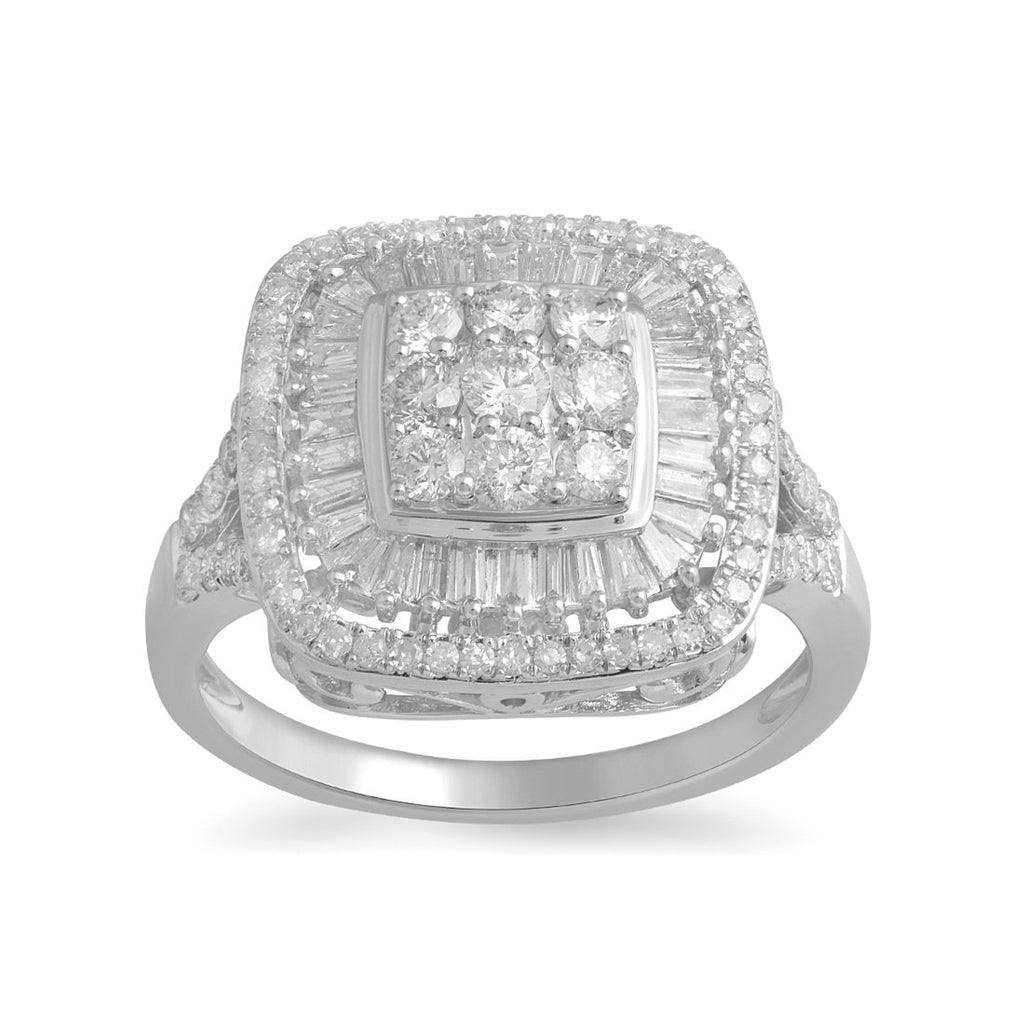 9ct White Gold 1.00ct Diamond Brilliant and Baguette Ring Rings Bevilles