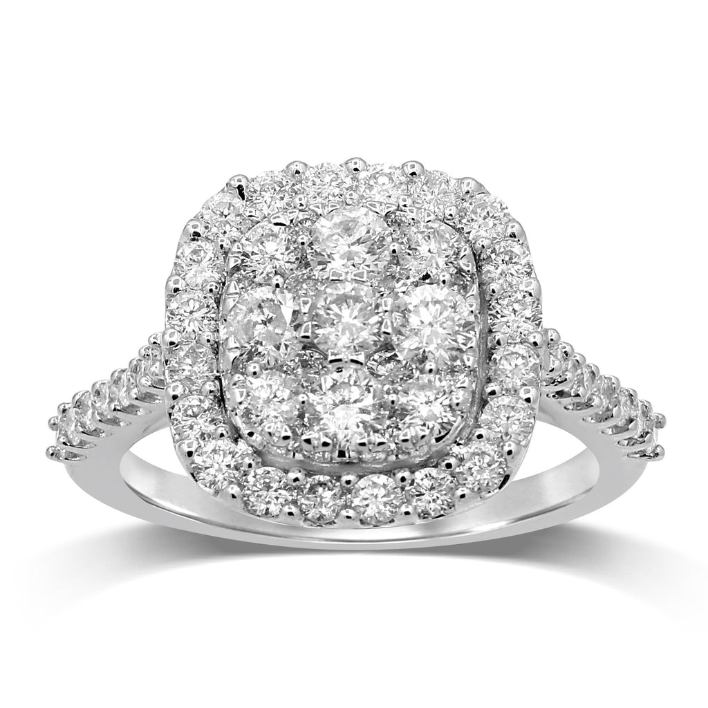 Brilliant Halo Set Ring with 1.50ct of Diamonds in 9ct White Gold Rings Bevilles