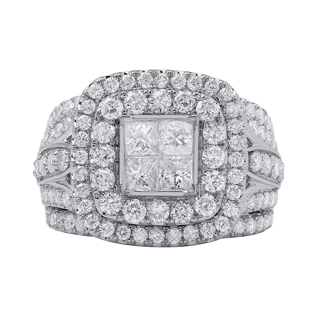 Invisible Princess Brilliant Claw Halo Ring with 3.00ct of Diamonds in 9ct White Gold Rings Bevilles