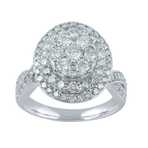 9ct White Gold 1.78ct Diamond Oval Cluster Ring
