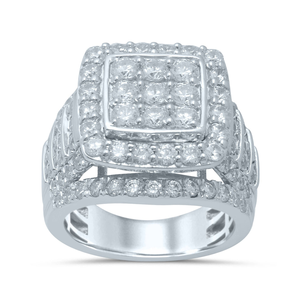 Brilliant Claw Square Look Ring with 3.40ct of Diamonds in 10ct White Gold Rings Bevilles