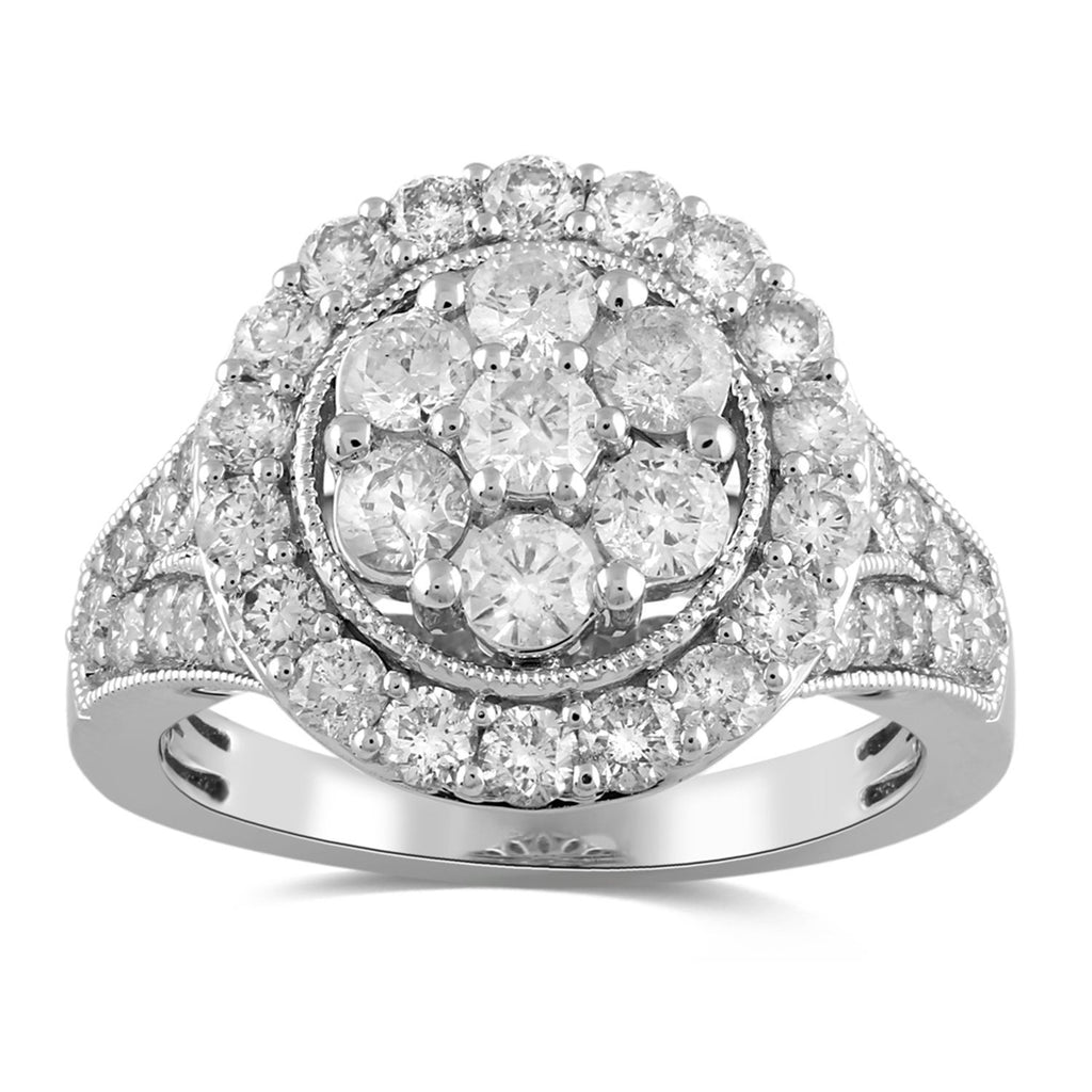 Brilliant Flower Halo Ring with 2.00ct of Diamonds in 9ct White Gold Rings Bevilles