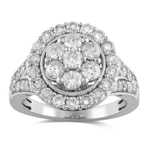 Brilliant Flower Halo Ring with 2.00ct of Diamonds in 9ct White Gold