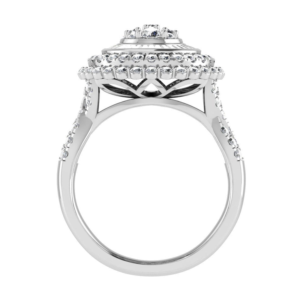 Composite Halo Ring with 1.25ct of Diamonds in 9ct White Gold Rings Bevilles