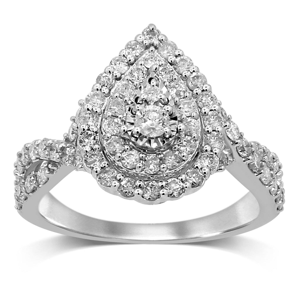 Double Halo pear shaped ring with 1.00ct of Diamonds in 9ct White Gold Bevilles Jewellers