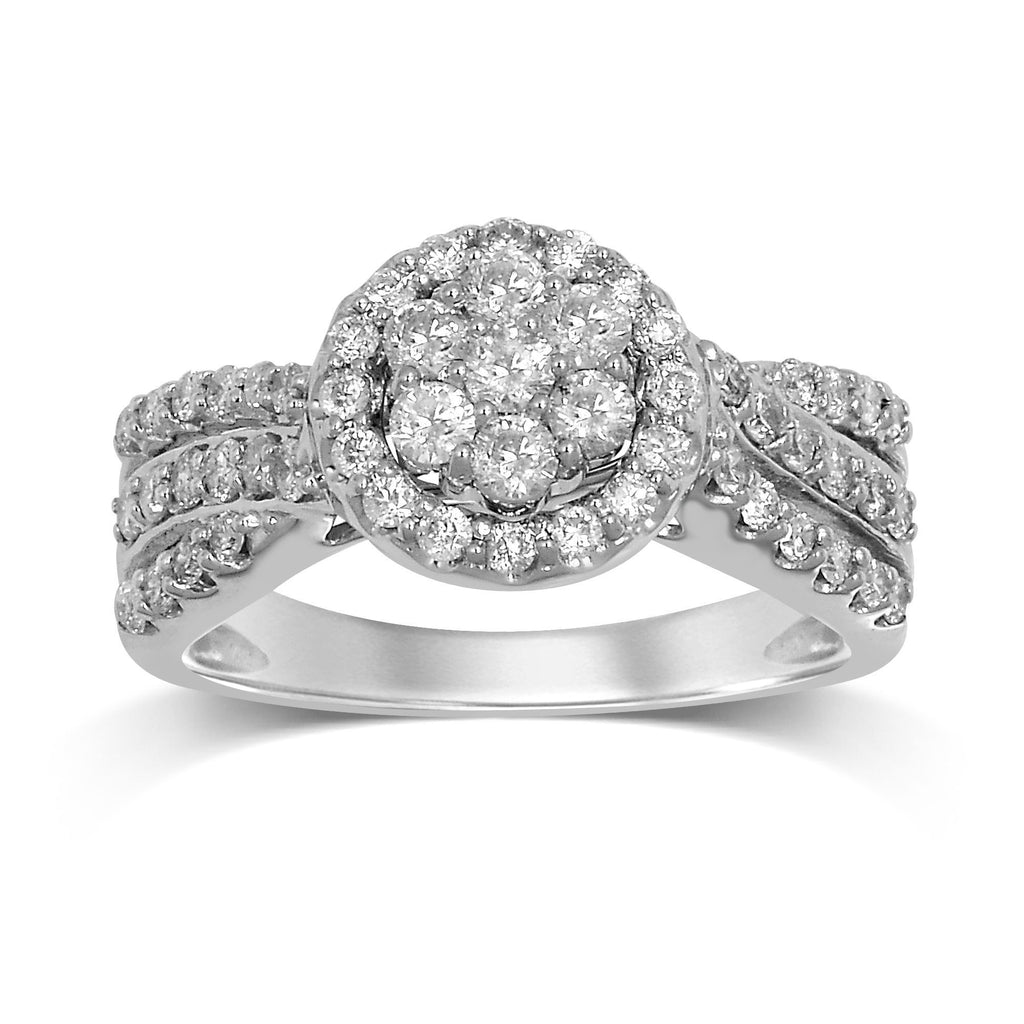 Brilliant Cluster Ring with 1.00ct of Diamonds in 9ct White Gold Rings Bevilles