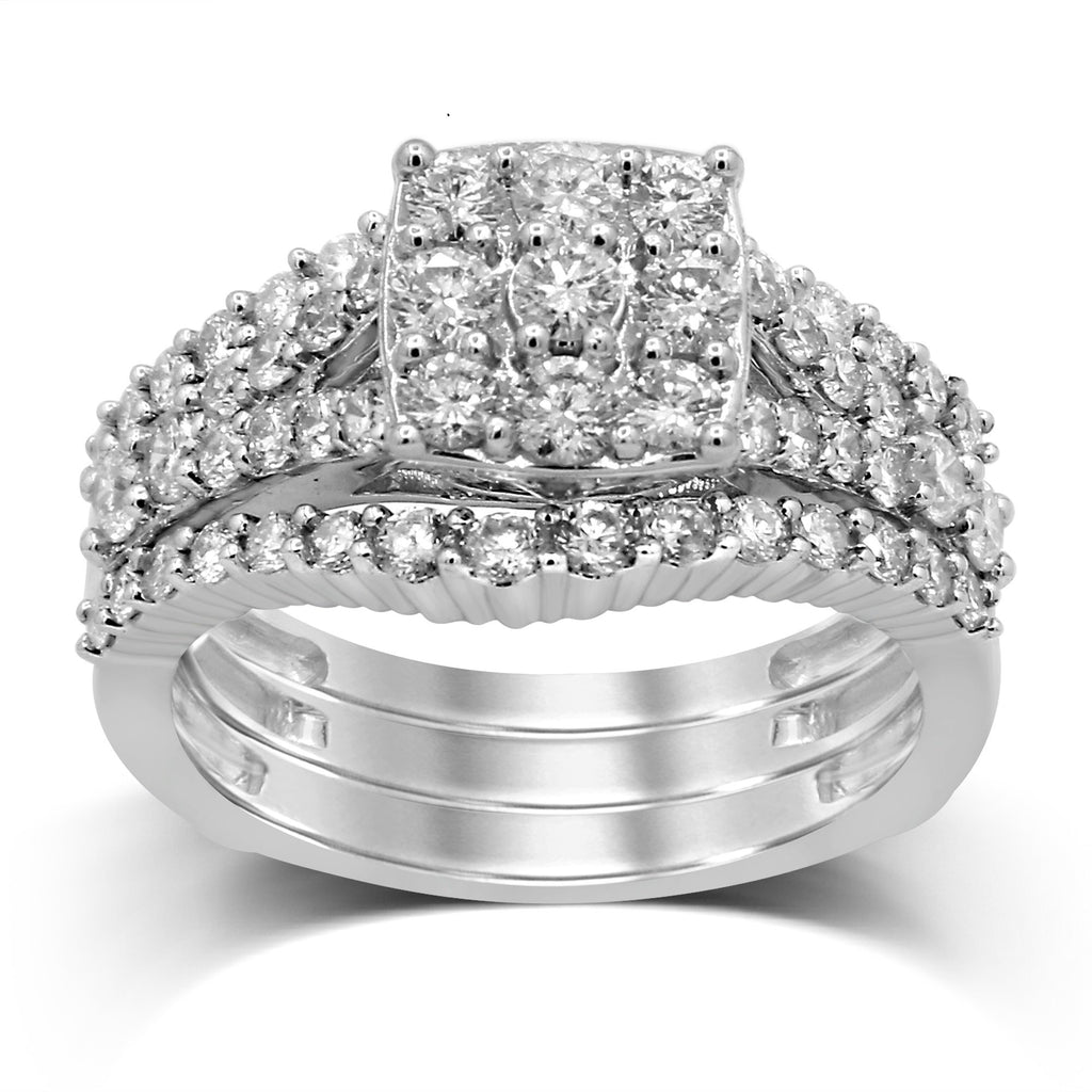 Three Ring Set with 1.30ct of Diamonds in 9ct White Gold Rings Bevilles