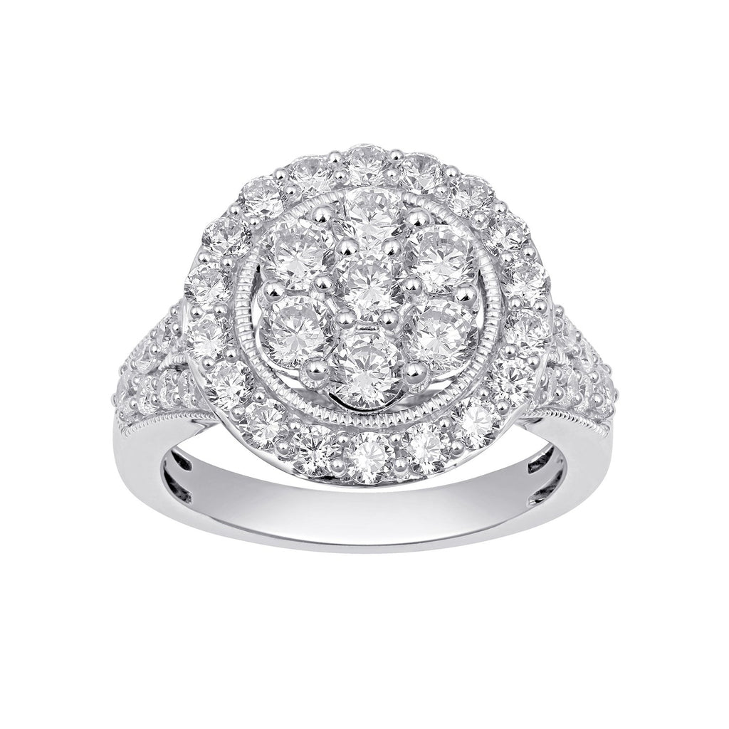 Halo Composite Ring with 1.25ct of Diamonds in 9ct White Gold Rings Bevilles
