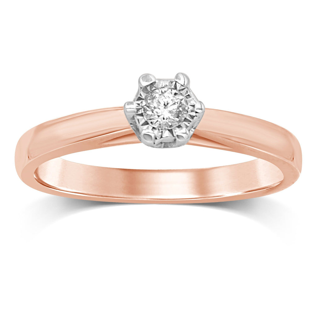 Miracle Diamond Solitaire Ring in 9ct Rose Gold Rings Bevilles