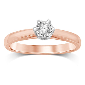 Miracle Diamond Solitaire Ring in 9ct Rose Gold
