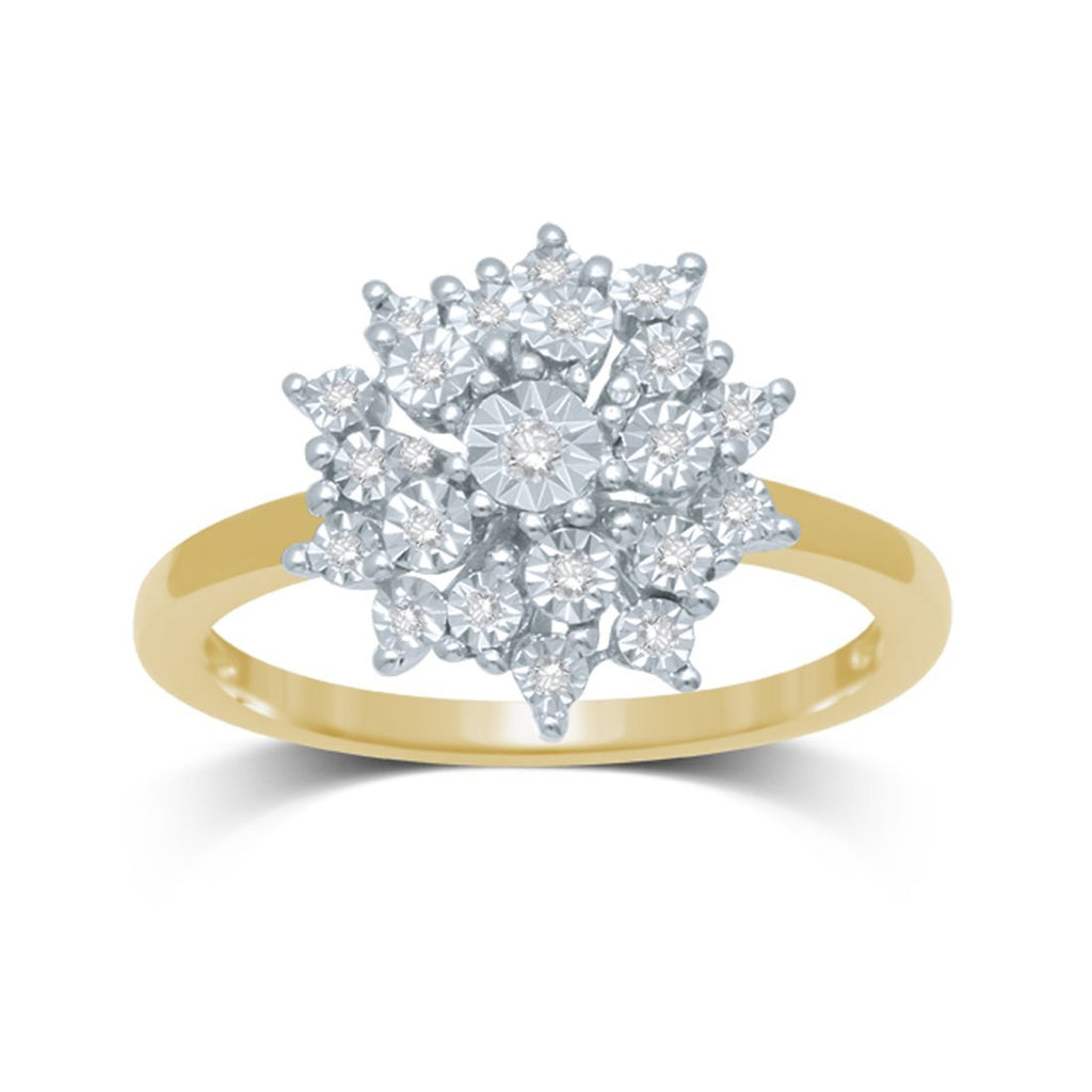 9ct Yellow Gold Diamond Flower Ring