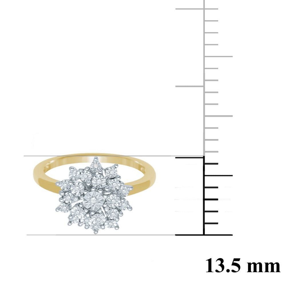 9ct Yellow Gold Diamond Flower Stackable Ring Rings Bevilles