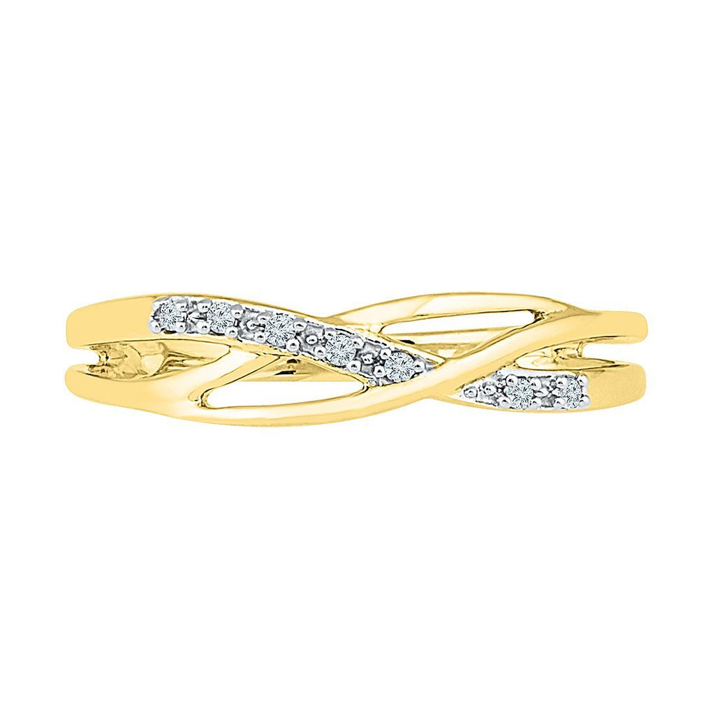 Diamond Set Weave Stackable Ring in 9ct Yellow Gold Rings Bevilles