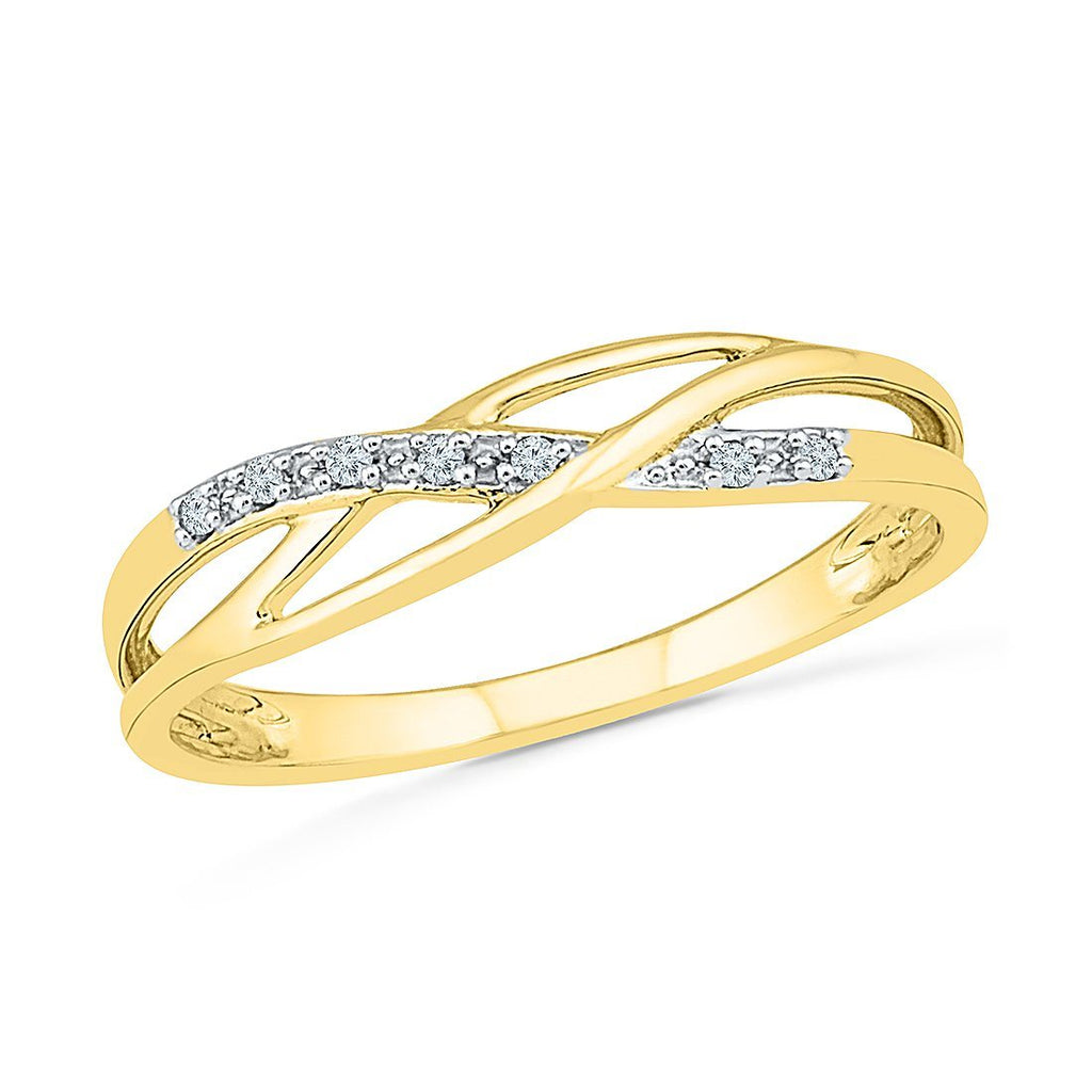 Diamond Set Weave Ring in 9ct Yellow Gold