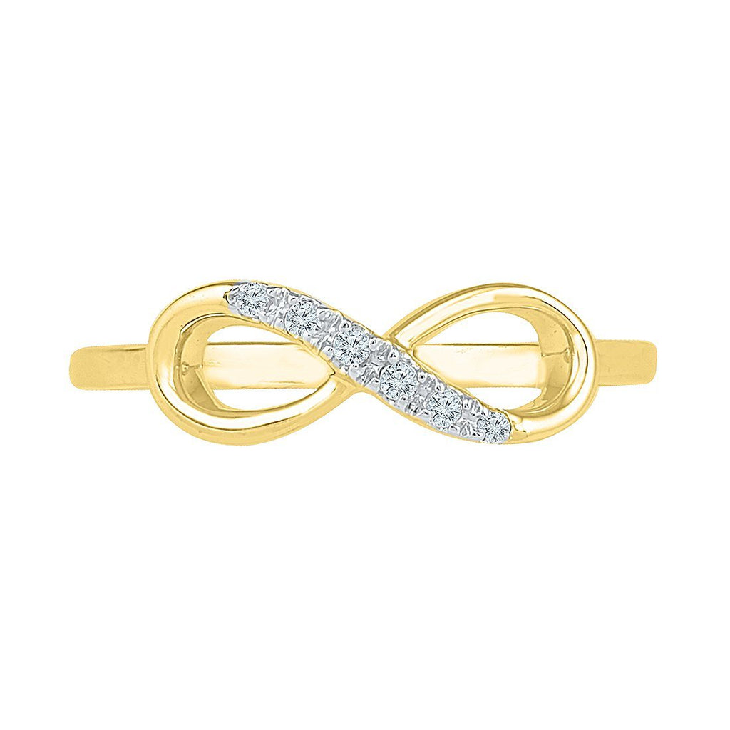 Diamond Infinity Stackable Ring in 9ct Yellow Gold Rings Bevilles