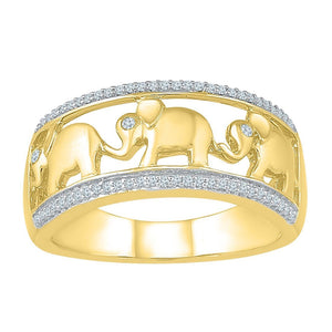 Elephant Stackable Ring with Diamonds in 9ct Yellow Gold