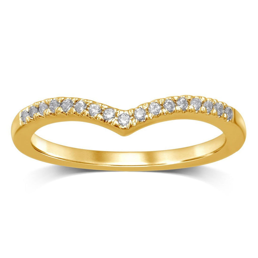 Stackable V shaped Ring with Diamonds in 9ct Yellow Gold Rings Bevilles
