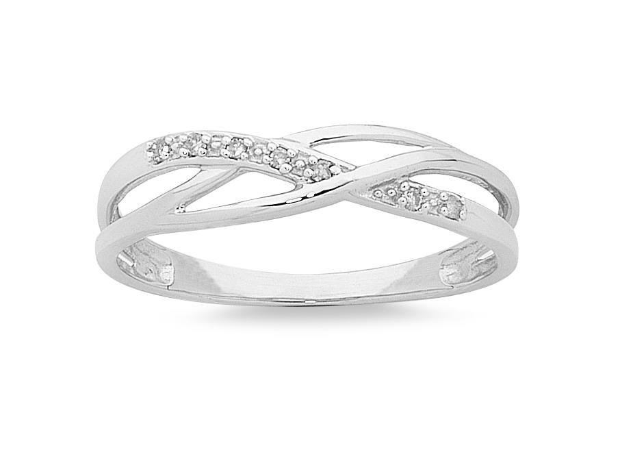 9ct White Gold Diamond Stackable Ring Rings Bevilles