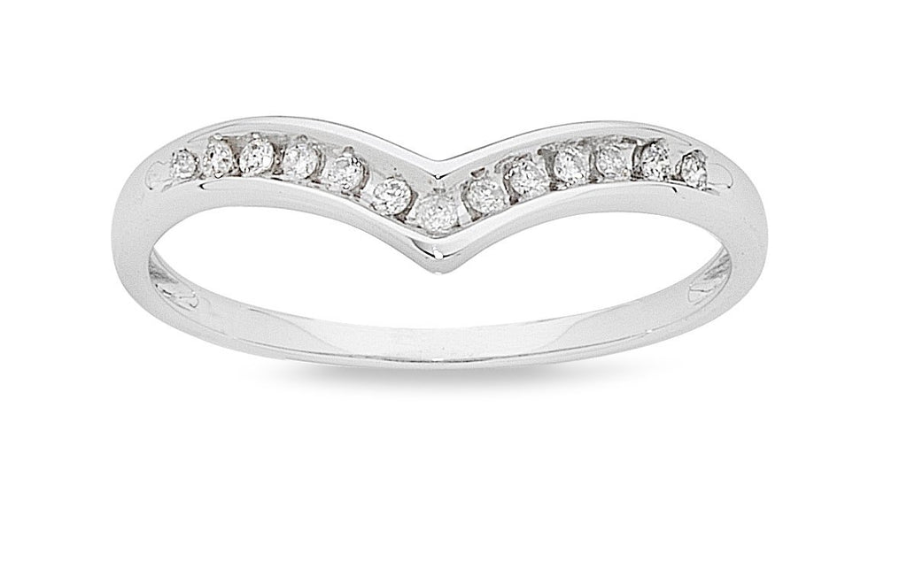 9ct White Gold 0.10ct Diamond Stackable Ring Rings Bevilles
