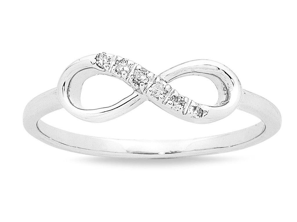 9ct White Gold Diamond Set Stackable Infinity Ring Rings Bevilles